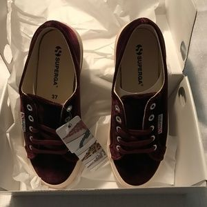 Superga Velvet Burgundy Sneakers NIB